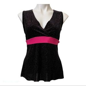 Lipstick Black Velvet Top with hot pink band